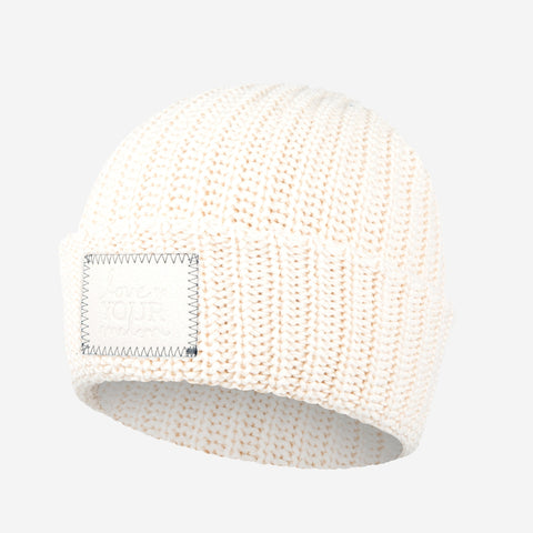 Natural Cuffed Beanie (Faux Leather Patch)-Beanie-Love Your Melon