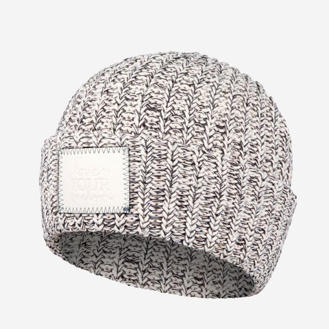 Black Speckled Cuffed Beanie (Faux Leather Patch)-Beanie-Love Your Melon