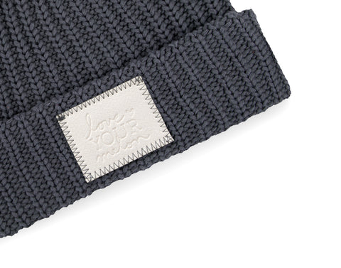 Dark Charcoal Cuffed Beanie (Faux Leather Patch)-Beanie-Love Your Melon