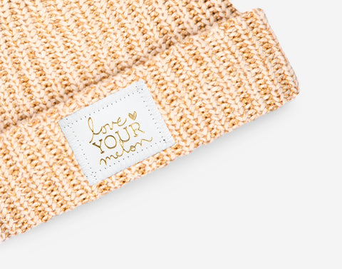 White Speckled Metallic Gold Yarn Cuffed Beanie (White Gold Foil Leather Patch)