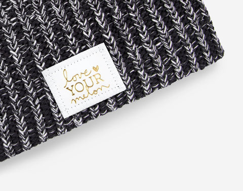 Black and White Speckled Beanie (White Gold Foil Patch)-Beanie-Love Your Melon