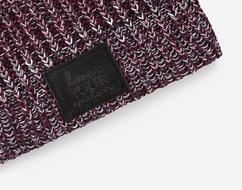 Black, Burgundy and White Beanie (Black Leather Patch)-Beanie-Love Your Melon