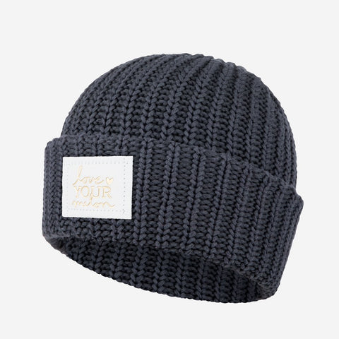 Dark Charcoal Cuffed Beanie (White Gold Foil Patch)-Beanie-Love Your Melon