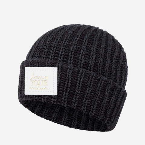 Smoke Speckled Cuffed Beanie (White Gold Foil Patch)-Beanie-Love Your Melon  ... c586bb7ddde