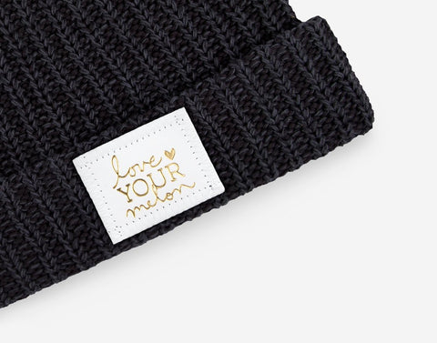 Smoke Speckled Cuffed Beanie (White Gold Foil Patch)-Beanie-Love Your Melon