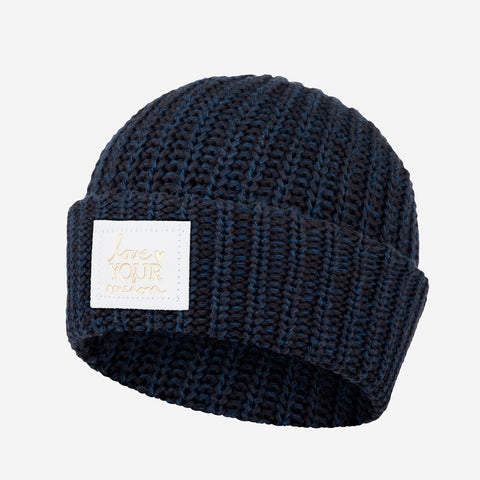 Black and Navy Speckled Cuffed Beanie (White Gold Foil Patch)