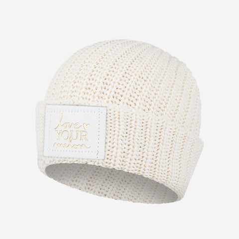 Kids White Speckled Cuffed Beanie (White Gold Foil Patch)