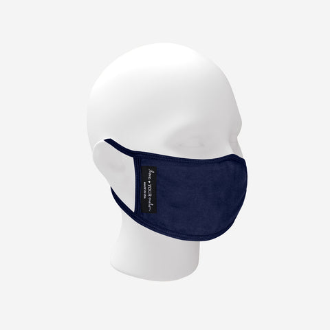 Adult Reusable Navy Dual Layer Jersey Cotton Face Mask with Nose Piece + Filter Pocket