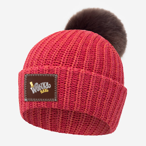 Willy Wonka Bright Pink and Orange Speckled Pom Beanie