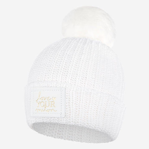 White Pom Beanie (White Gold Foil Patch)-Beanie-Love Your Melon