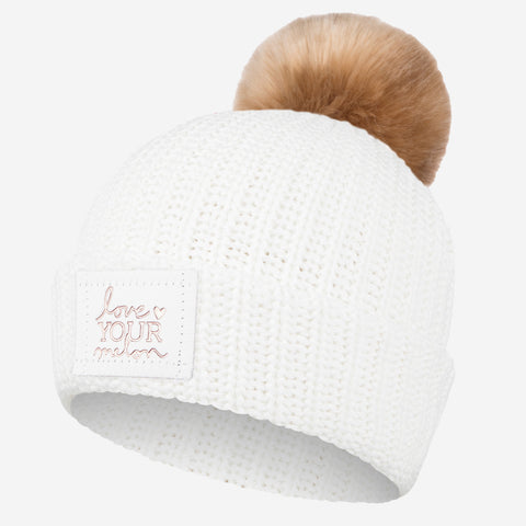 White Rose Foil Pom Beanie (White Leather) (Natural Pom)