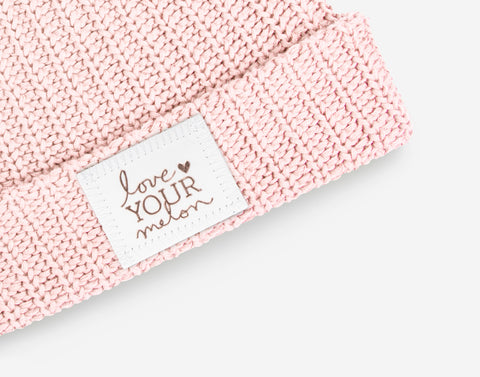Blush Rose Foil Cuffed Beanie (White Leather Patch)-Love Your Melon