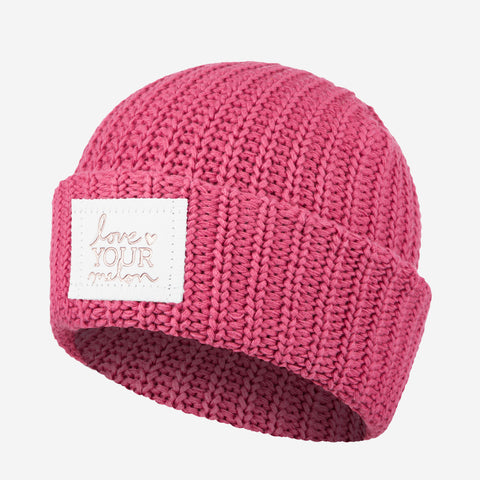 Rose Rose Foil Cuffed Beanie (White Leather Patch)-Love Your Melon