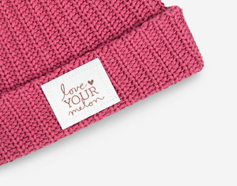 Rose Rose Foil Pom Beanie (White Leather Patch)-Love Your Melon