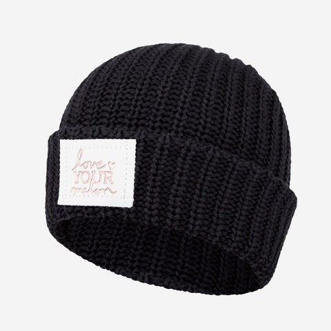 Black Rose Foil Cuffed Beanie (White Leather Patch)-Love Your Melon