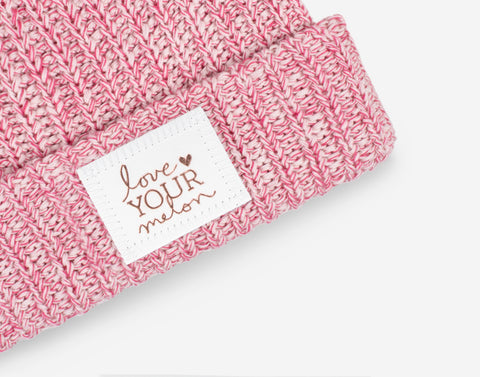 Blush and Rose Speckled Rose Foil Pom Beanie (White Leather Patch)-Love Your Melon