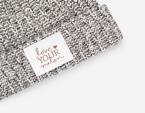 Black Speckled Rose Foil Cuffed Beanie (White Leather Patch)-Love Your Melon