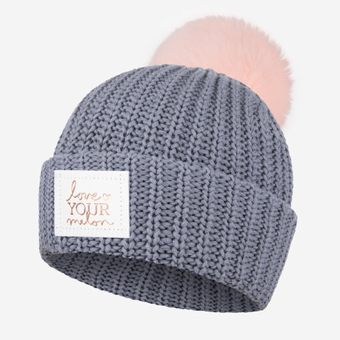 Light Charcoal Rose Foil Pom Beanie (Light Pink Pom)