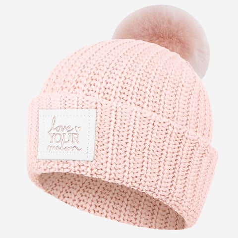 Blush Rose Foil Pom Beanie (White Leather Patch)-Love Your Melon