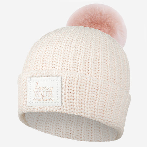 Blush Speckled Rose Foil Pom Beanie (White Leather Patch)-Love Your Melon