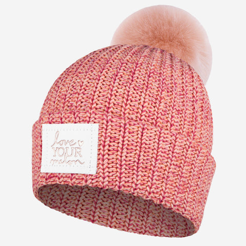 a3a32db6cb219 Fairy Tale Rose Foil Pom Beanie (White Leather Patch)-Love Your Melon ...