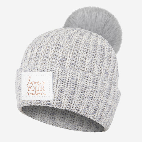 Gray Speckled Rose Foil Pom Beanie (Light Charcoal Pom)