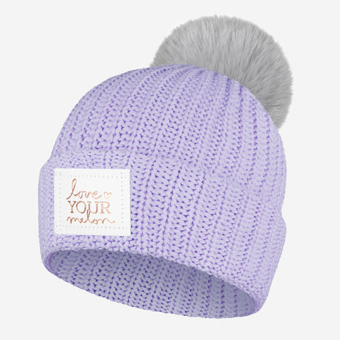 Light Purple Rose Foil Pom Beanie (Light Charcoal Pom)