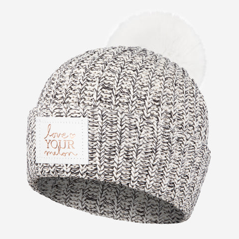 Black Speckled Rose Foil Pom Beanie (White Pom)