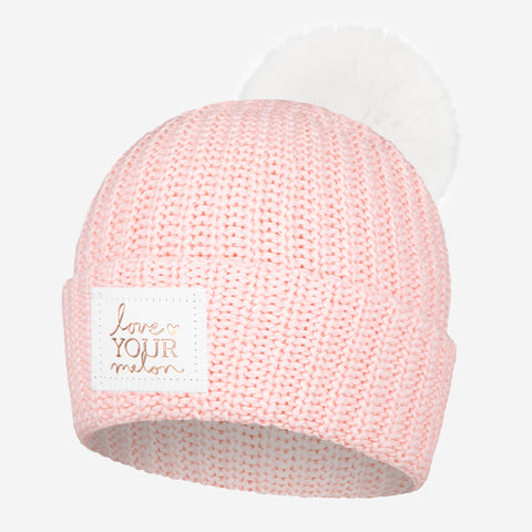 Blush and White Speckled Rose Foil Pom Beanie (White Pom)