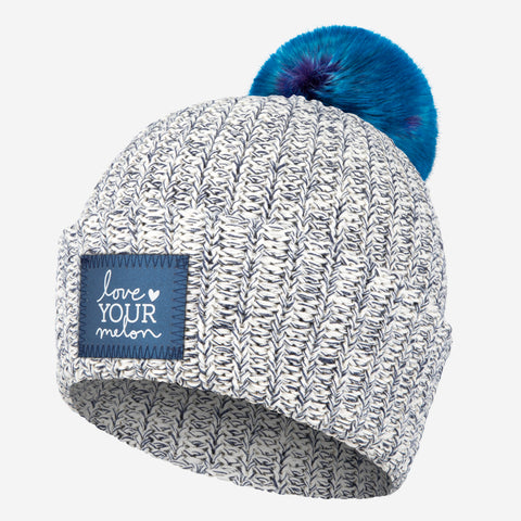 Navy Speckled Frost Pom Beanie (Navy Reflective)