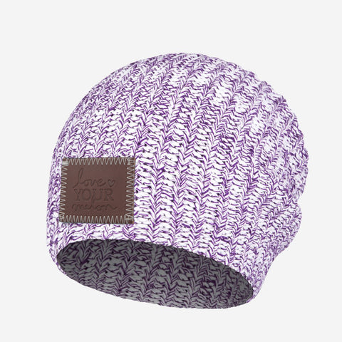 White and Purple Speckled Beanie