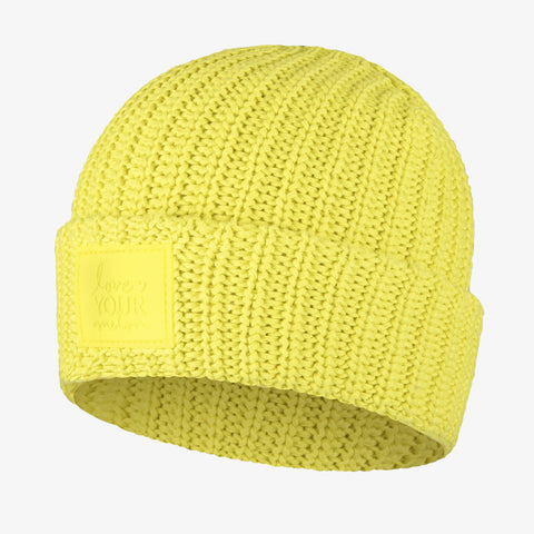 Neon Yellow Cuffed Beanie
