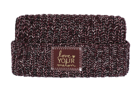 Beanie - Black, Burgundy And White Gold Foil Cuffed Beanie (Red Maple Patch)