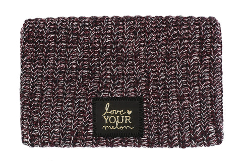 Beanie - Black, Burgundy, And White Speckled Gold Foil Beanie
