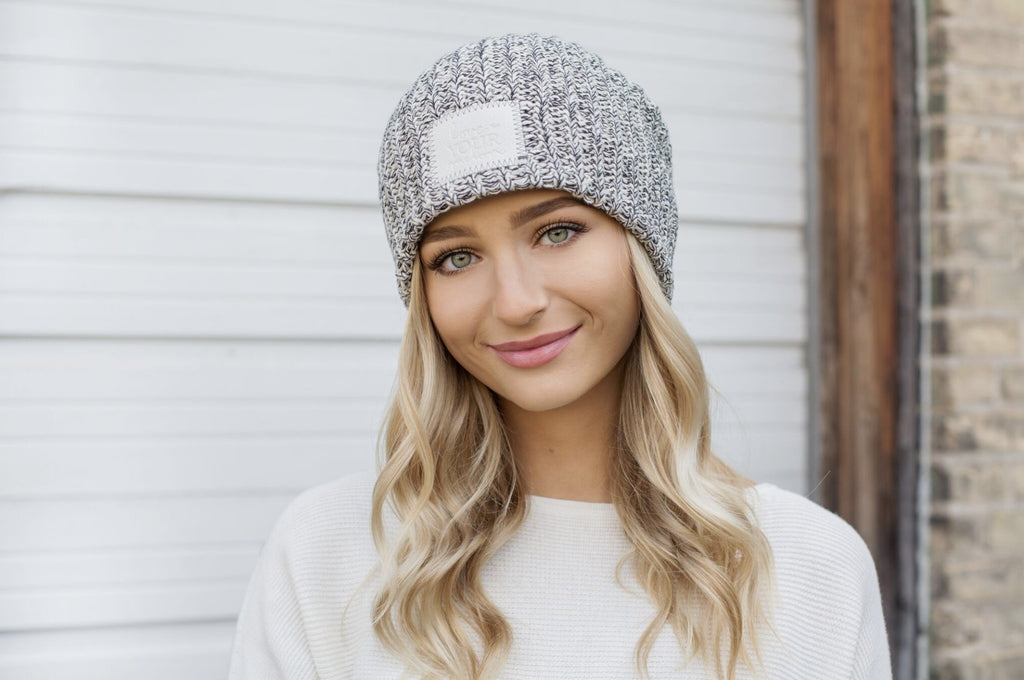 Black Speckled Beanie (Faux Leather Patch)