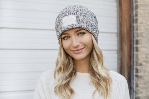 Black Speckled Beanie (Faux Leather Patch)-Beanie-Love Your Melon