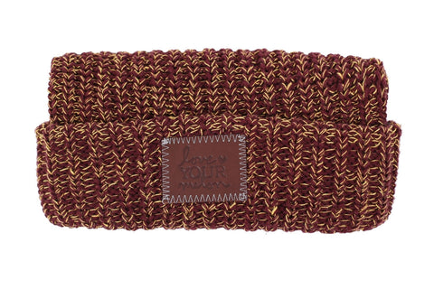 Beanie - Burgundy And Gold Speckled Cuffed Beanie
