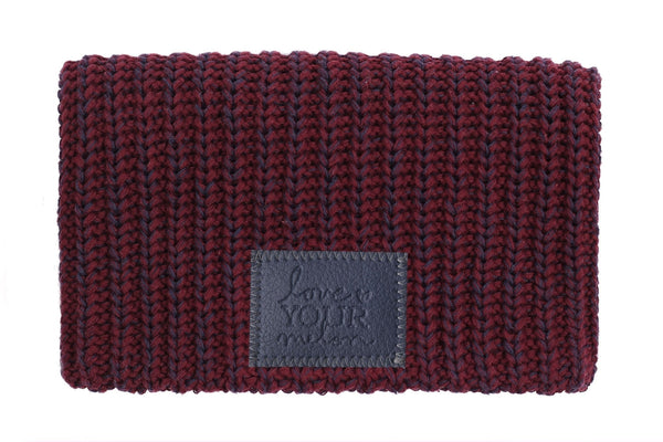 Beanie - Burgundy And Navy Speckled Beanie (Faux Leather Patch)
