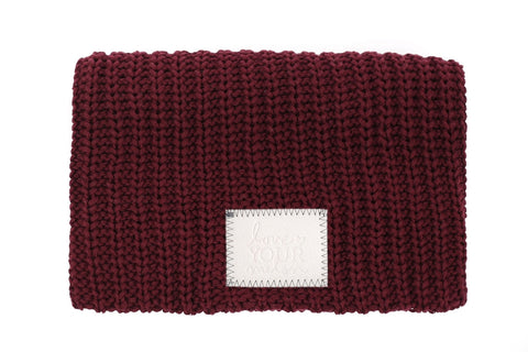 Beanie - Burgundy Beanie (Faux Leather Patch)