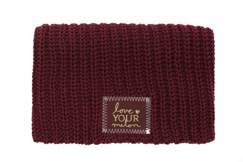 Beanie - Burgundy Gold Foil Beanie (Red Maple Patch)