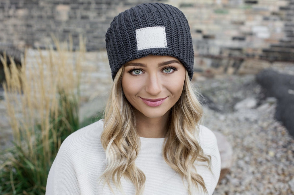 Dark Charcoal Beanie (Faux Leather Patch)