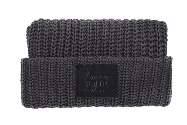 Beanie - Dark Charcoal Cuffed Beanie (Black Leather Patch)