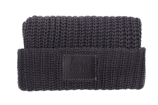 Beanie - Dark Charcoal Cuffed Beanie (Faux Leather Patch)