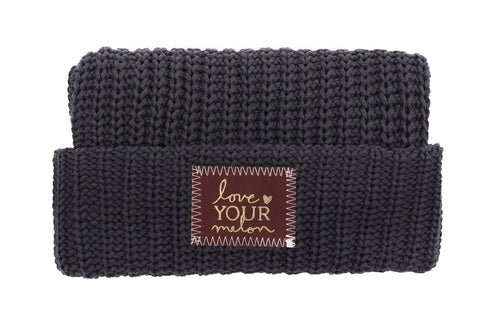 Beanie - Dark Charcoal Gold Foil Cuffed Beanie (Red Maple Patch)