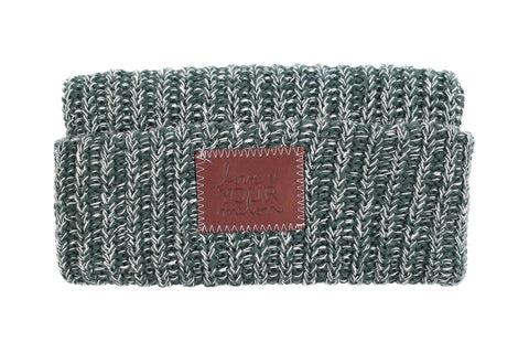 Beanie - Forest And White Speckled Cuffed Beanie