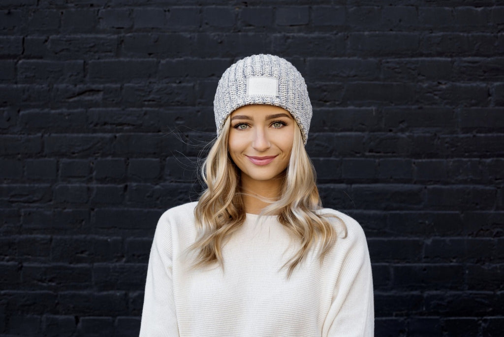 e1c4185d771 Gray Speckled Beanie (Faux Leather Patch)