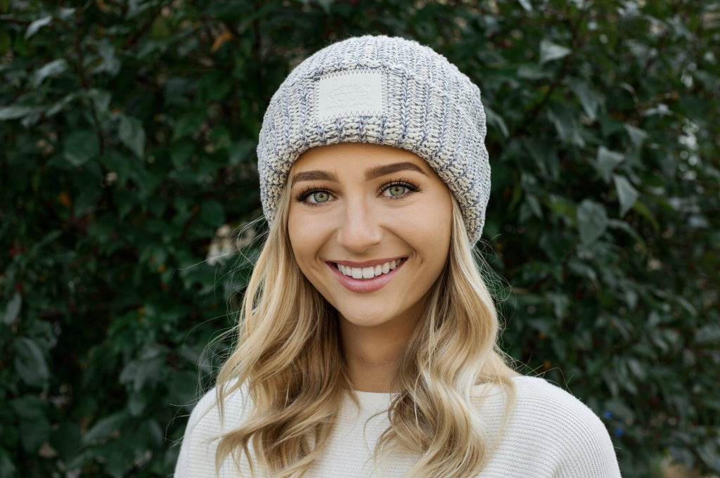 Gray Speckled Cuffed Beanie (Faux Leather Patch) f019b344672