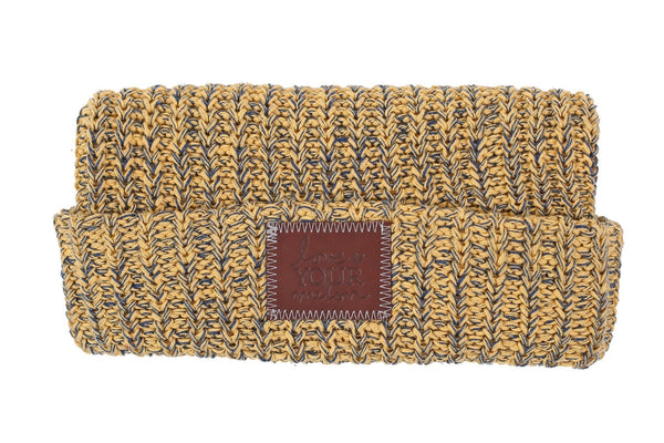 Beanie - Honey Yellow And Navy Speckled Cuffed Beanie