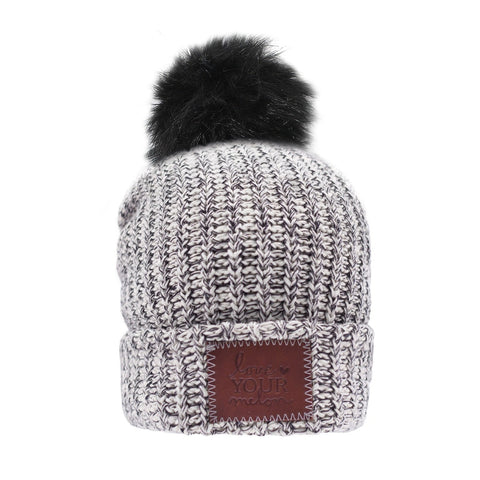 Beanie - Kids Black Speckled Pom Beanie (Black Pom)