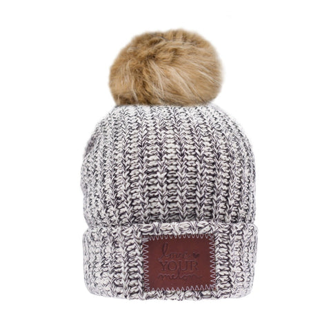 Beanie - Kids Black Speckled Pom Beanie (Natural Pom)